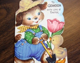 1950s USED Card, Easter Card, no envelope