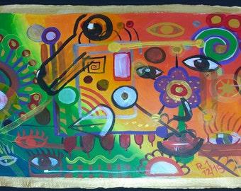 abstract, naive painting with humans, dogs at monitoring