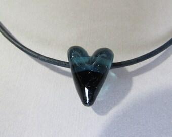 Blue Lampworked Heart Choker Necklace
