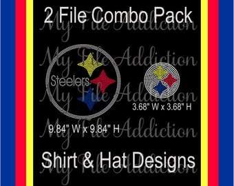 Instant Download Rhinestone SVG EPS Design File Pittsburg Steelers Football Hat & Shirt Combo Pack
