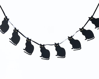 Black Cats Garland | Black Cats Banner  | Halloween Garland | Halloween Banner | Halloween Decor | Halloween Decoration