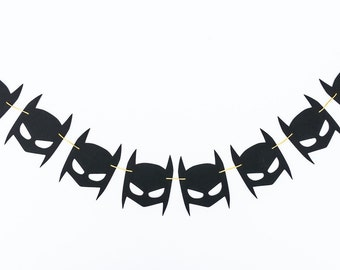 Batman Inspired Garland | Batman Mask Banner | Batman Birthday Decor | Batman Party Decor | Caped Crusader Decoration