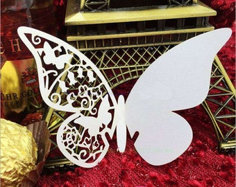 50pcs White Butterfly Wedding Table Paper Place Name Card Wine Glass Cards for Wedding Party Decoration