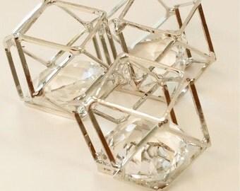 3 Geometric Pendants 20mm x 15mm, Geometric Bead Cage