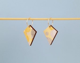 Yellow earrings, drop earrings, sterling silver earrings, dangle earrings, wooden earrings, decoupage earrings, wood earrings
