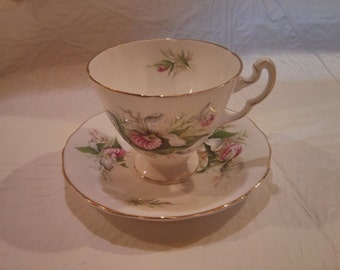 Royal Adderley Ladyslipper Orchid Cup & Saucer #H1324