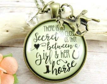 There is No Secret So Close..Girl and Her Horse Necklace Personalized Birthstone Vintage Horse Pendant Jewelry Horse Lover Gifts Keychain