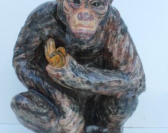 A Large Porcelain Monkey Signed 1979 B. Cobbman.