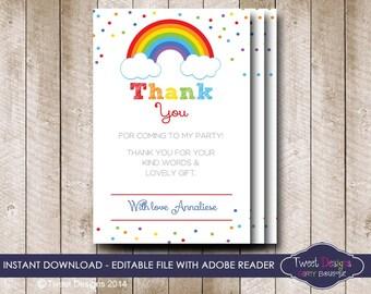 RAINBOW THANK YOU Card, Instant Rainbow Thank you Card, Thank you Card, Instant Confetti Thank you Card, Edit with Free Adobe Reader
