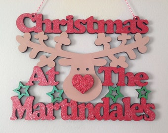 Christmas At The .... Rudolph Hanging Sign by Duck Duck Goose
