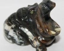 Hand carved Hippo, Natural Chalcedony Hippopotamus, Hippo Statue, FREE SHIPPING