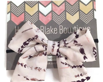 Metallic Feather Tailed Fabric Bow
