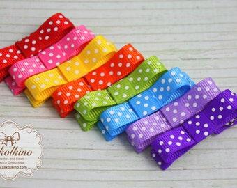 Set of 8 - Hair Bow Collection - Rainbow hair clips - Baby Hair Clips - Hairclips - Infant hair clips - Toddler hair clips - Everyday Clips