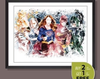 Supergirl poster, Supergirl print, Arrow, The Flash, White Canary, Legends of Tomorrow, Kids room Decor, Superhero wall art, 3594