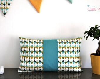 Cushion Scandinavian diamonds - yellow mustard and Turquoise