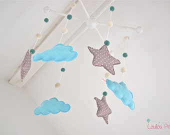 Mobile baby clouds and stars - blue and grey - biological tissues