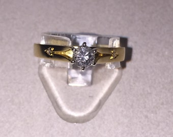 A Retro 18K Gold and Diamond Ring