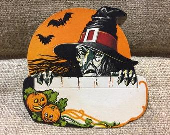 Vintage Dennison Halloween Placecard with Witch