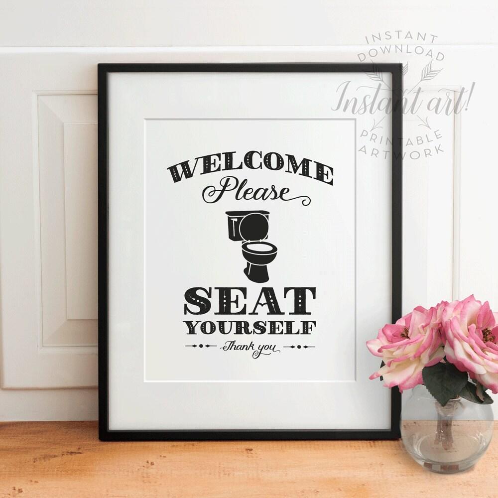 Funny bathroom wall decor printable art please seat yourself for Funny bathroom decor