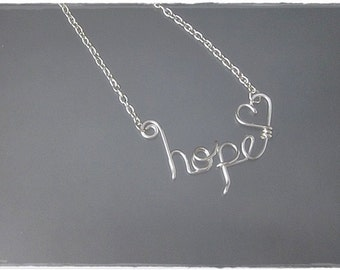 hope Wire Word Pendant Necklace