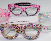 Jeweled Glasses - Option of Clear Lens or Prism Diffraction Firework Lens for Laser Light Shows, Rave, Club Fun, Dress-up, Parties