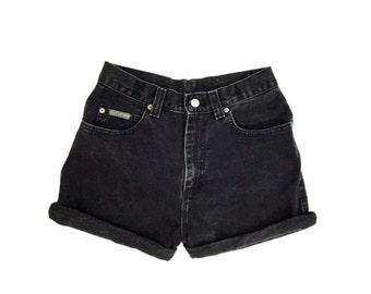 SALE 90s LEE Black Denim High Waisted Jean Shorts Size 4