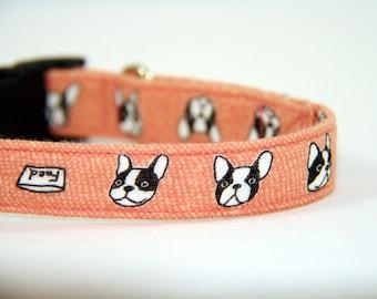 Pink Frenchie dog collar