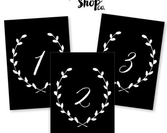 Printable Table Numbers - 5x7 - Black with White Numbers and Wreath