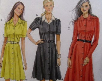 Butterick B5846 shirt dress with pockets, plus size 18-26, bust 40-48
