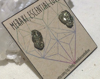 Pyrite Earrings. Raw Pyrite Earring Studs.