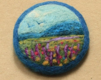 Needle felted brooch, felt brooch, felt jewellery, wool brooch, for her, miniature art, felted badge
