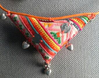 Necklace/pendant textile, Bohemian spirit. Multicolor. A desire to Sun.