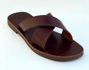 men's leather sandals (46 - Black)