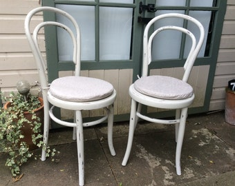 Pair of Vintage Shabby Chic Bentwood Bistro Chairs by Fischel, Austria. French Café Chairs, Distressed Paint
