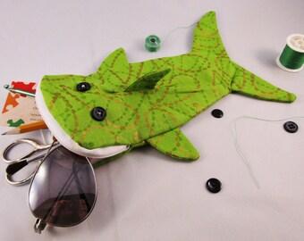 Shark bag- lime green with gold paisley