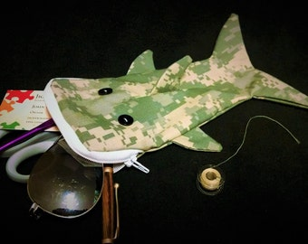 Shark bag- green and tan pixelated camouflage