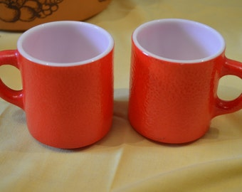 Milk Glass Primary Red Stackable Textured Coffee Mugs Set of 2 Retro Mid Century Kitchen Housewarming Gift