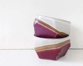 Ceramic Everyday Bowl / Modern Purple and White / Cereal Bowl / Salad Bowl / Snack Bowl / Soup Bowl / The Cove Bowl / READY TO SHIP