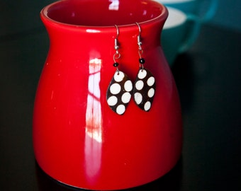 White Polka Dot Earrings