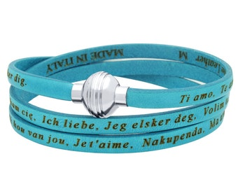 "Turquoise authentic leather wrap bracelet with the phrase ""I love you"" in 22 languages. Leather wrap around bracelet, i love you, te amo."
