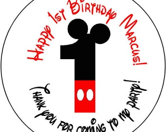 12 Mickey Mouse 1st  Birthday Party Stickers 2.5 inch Round Personalized kids 1 1st