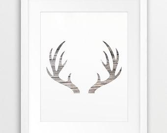 Antler Print, Deer Antlers Wall Art, Antler Silhouette Rustic Wood Texture, Neutral Grey Beige Modern Wall Art, Nursery Decor, Printable Art