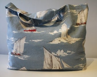 beach bag, beach bag with sailboats