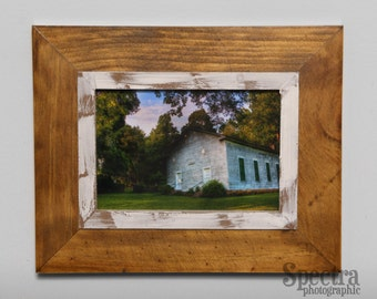Old Country Church Coosa, Georgia, Framed 5x7 Fine Art Photographic Print, Rustic Wood Frame