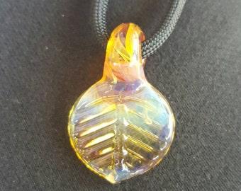 Glass Leaf Pendant, (YELLOW) Glass Art Aspen Leaf Pendant, Glass Pendant Necklace, Blown Glass Pendant Jewelry, Glass Art Jewelry, Necklace