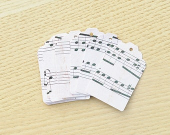 Glitter music notes cardstock tags, decorative tags, christmas tags, gift tags, vintage style tags.