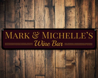 Wine Bar Sign, Personalized Wine Lover Sign, Custom Bar Sign, Metal Bar Decor, Wine Decor, Bar Name Sign - Quality Aluminum ENS1001171