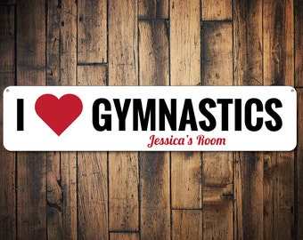 I Love Gymnastics Sign  Personalized Kid Name Room Custom Heart Gymnast Sports Lover bedroom Etsy