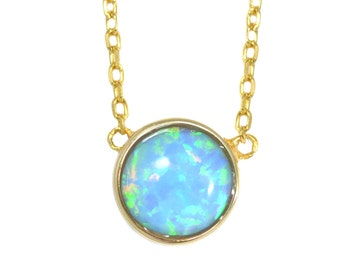 Gold Vermeil Blue Opal Gemstone Coin Necklace in Sterling Silver 16'' - 18'' - Dainty and Delicate