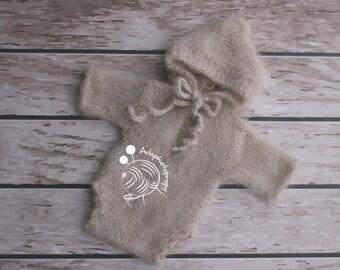 Newborn knit overalls, Newborn knit body, Newborn knit outfit,Mohair set,Mohair outfit,Beige outfit,Beige body,Beige overalls,hooded,hoodies